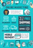 Conception de bannière de la publicité de marketing en ligne et de Web Images libres de droits