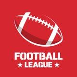 Conception de bannière ou d'emblème avec l'icône de boule de football américain Photo stock