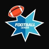 Conception de bannière ou d'emblème avec l'icône et le sta de boule de football américain Photos stock