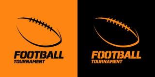 Conception de bannière ou d'emblème avec la silhouette i de boule de football américain Photo stock