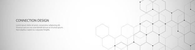 Conception de bannière de vecteur, connexion globale avec des lignes et points Fond abstrait géométrique de Digital Photographie stock