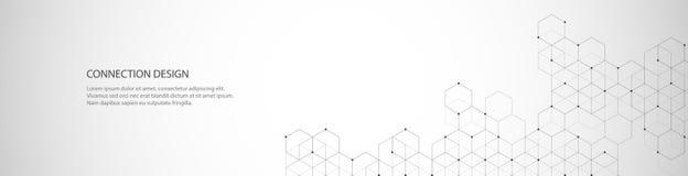 Conception de bannière de vecteur, connexion globale avec des lignes et points Fond abstrait géométrique de Digital Image libre de droits