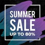 Conception de bannière de vente d'été avec le cadre carré Jusqu'à 80% Drapeau créateur de conception illustration de vecteur