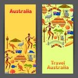Conception de bannières d'Australie Symboles et objets traditionnels australiens illustration libre de droits