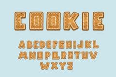 Conception de biscuit d'alphabet Lettres anglaises majuscules Clipart (images graphiques) audacieux de police, style de typograph photo stock
