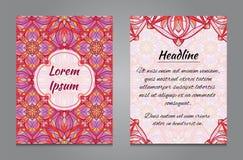 Conception de brochure avec l'ornement symétrique de vintage Images libres de droits