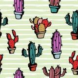 conception de cactus Configuration sans joint Illustration de vecteur, fond noir illustration libre de droits
