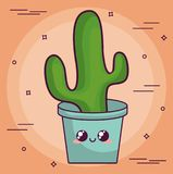 Conception de cactus de Kawaii Photos libres de droits