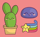 Conception de cactus de Kawaii Image libre de droits