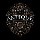 Conception de cadre d'antiquité de typographie de label de vintage illustration de vecteur