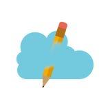 Conception de calcul de crayon et de nuage Image stock