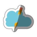 Conception de calcul de crayon et de nuage Images stock