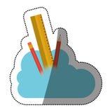 Conception de calcul de crayon et de nuage de règle Photo stock