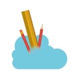 Conception de calcul de crayon et de nuage de règle Photo libre de droits