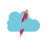 Conception de calcul de stylo et de nuage Image stock