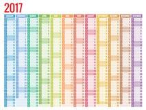 Conception de calendrier mensuel de mur pendant 2017 années La semaine commence dimanche Ensemble de 12 mois illustration stock