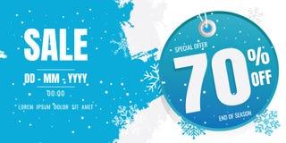 Conception de calibre de bannière de vente d'hiver Flocon de neige Cristaux de glace Se Photographie stock