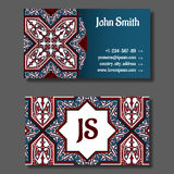 Conception de calibre de carte de visite professionnelle de visite, bleue et rouge illustration libre de droits