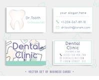 Conception de calibre de carte de visite professionnelle de visite pour votre clinique dentaire Photographie stock libre de droits