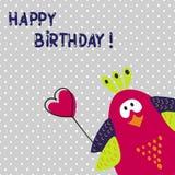 Conception de carte de joyeux anniversaire Oiseau mignon de dessin animé Photos stock