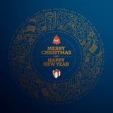 Conception de carte de voeux de Noël et d'an neuf illustration stock