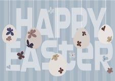 Conception de carte heureuse de Pâques avec les oeufs de pâques floraux Image libre de droits