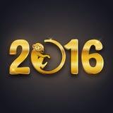 Conception de carte postale de nouvelle année, texte d'or avec le symbole de singe sur le fond foncé Image stock