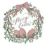 Conception de carte postale Joyeuses Pâques avec des oeufs illustration de vecteur
