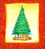 Conception de carte tirée par la main de Noël Image stock