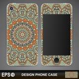 Conception de cas de téléphone Éléments décoratifs de cru illustration stock
