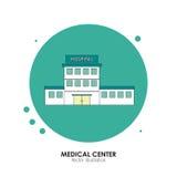 Conception de centre médical Illustration d'hôpital Fond blanc Photographie stock