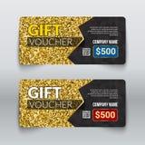 Conception de certificat de bon de cadeau avec la texture de scintillement d'or illustration de vecteur