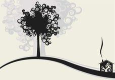 Conception de Chambre et d'arbres Photos stock