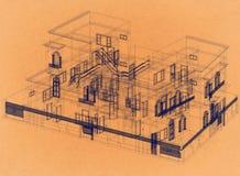 Conception de Chambre - rétro architecte Blueprint illustration stock