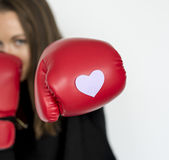Conception de coeur de gants de boxe de femme Photo libre de droits
