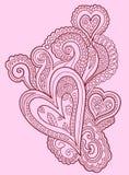 Conception de coeur de griffonnage de henné illustration libre de droits