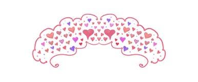 Conception de coeur peinte jolie par aquarelle pour frontières ou conceptions de jour de mariages et de valentines Images libres de droits