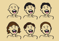 Conception de coiffure pour les personnes heureuses de bande dessinée Image libre de droits