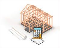 Conception de construction de base de maison de structure de bois Bâtiment, planification et calculs de projet d'architecture sur illustration de vecteur