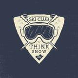 Conception de correction de club de ski Les sports d'hiver badge, logotype dans le rétro style d'impression typographique Vecteur Image libre de droits
