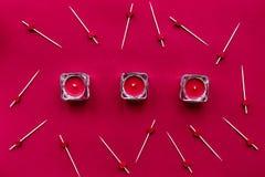 Conception de couleur rouge pour romantique avec la vue supérieure de coeur Photographie stock