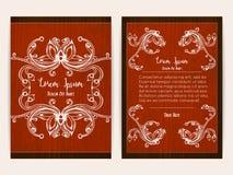 Conception de couverture avec le cadre ornemental floral Rétro type Photos stock