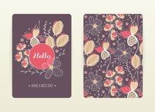 Conception de couverture avec le modèle floral Créatif tiré par la main illustration stock