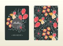 Conception de couverture avec le modèle floral Créatif tiré par la main illustration de vecteur