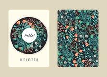 Conception de couverture avec le modèle floral Fleurs créatives tirées par la main Fond artistique coloré avec la fleur illustration stock