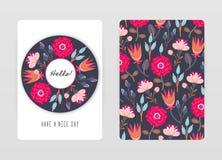 Conception de couverture avec le modèle floral Fleurs créatives tirées par la main Fond artistique coloré avec la fleur images libres de droits