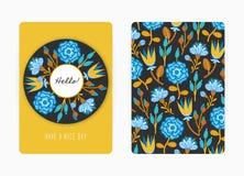 Conception de couverture avec le modèle floral Fleurs créatives tirées par la main Fond artistique coloré avec la fleur photos stock
