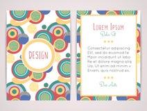 Conception de couverture avec le modèle géométrique abstrait Formes rondes colorées Cercles plats de couleur Photographie stock