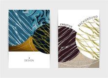 Conception de couverture Calibres avec des formes texturisées Fond abstrait créatif Image libre de droits
