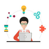 Conception de Coworking au-dessus de fond gris, illustration Photo stock